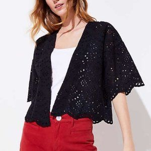 LOFT Black Scalloped Eyelet Lace Kimono Jacket